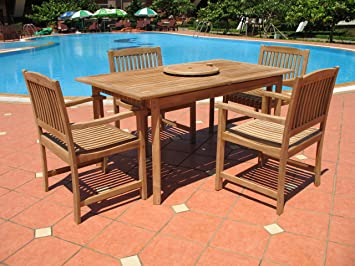 Amazoncom Pc Outdoor Teak Patio Dining Set Garden Outdoor - Teak patio table with leaf