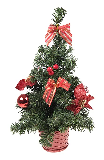 Small Artificial Christmas Tree With Red Bows And Ornaments   16u0026quot; ...