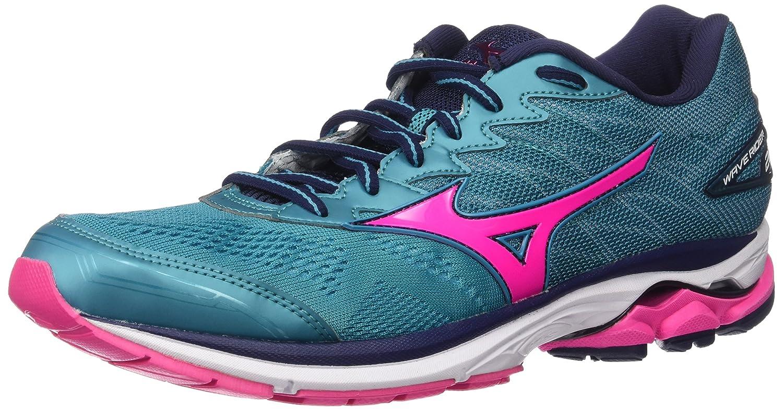 Mizuno Women's Wave Rider 20 Running Shoe B01N4B5HJR 8 B(M) US|Tile Blue/Pink Glo/Peacoat