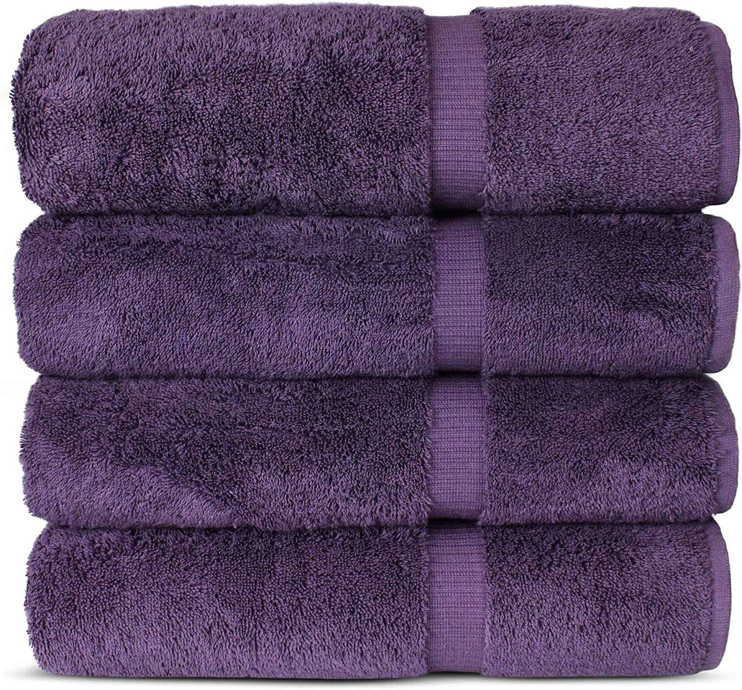 "Luxury Hotel & Spa 100% Cotton Premium Turkish Bath Towels, 27"" x 54'' (Set of 4, Plum)"