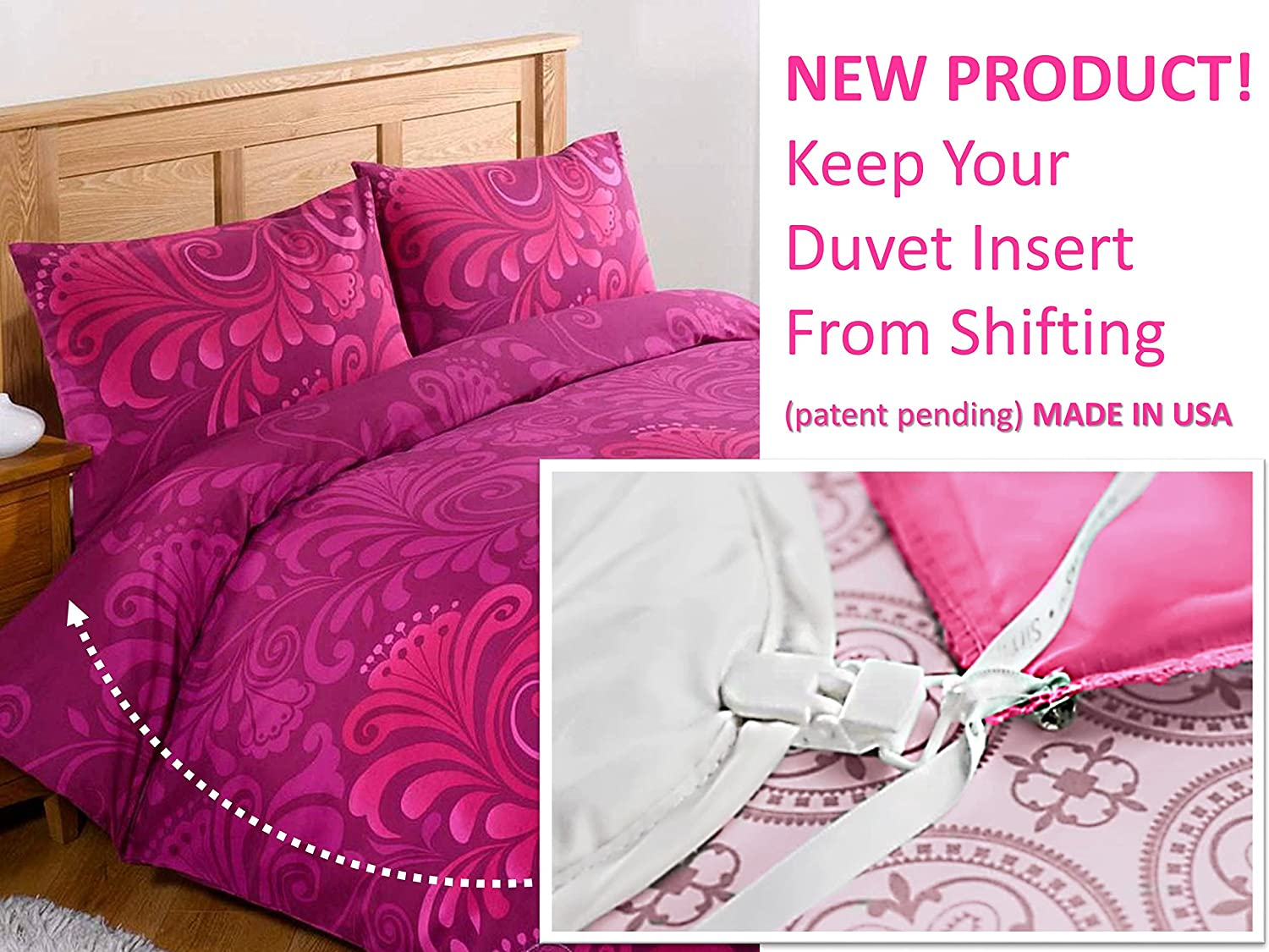 NEW! Duvet Clips and Sheet Fasteners- Complete Sleep Tight Bedding System- Includes Duvet Insert Clips, Pin Ties, and Sheet Fasteners (16- Pieces Secure up to 3 Beds + 1 Set of Sheets ) MADE IN USA