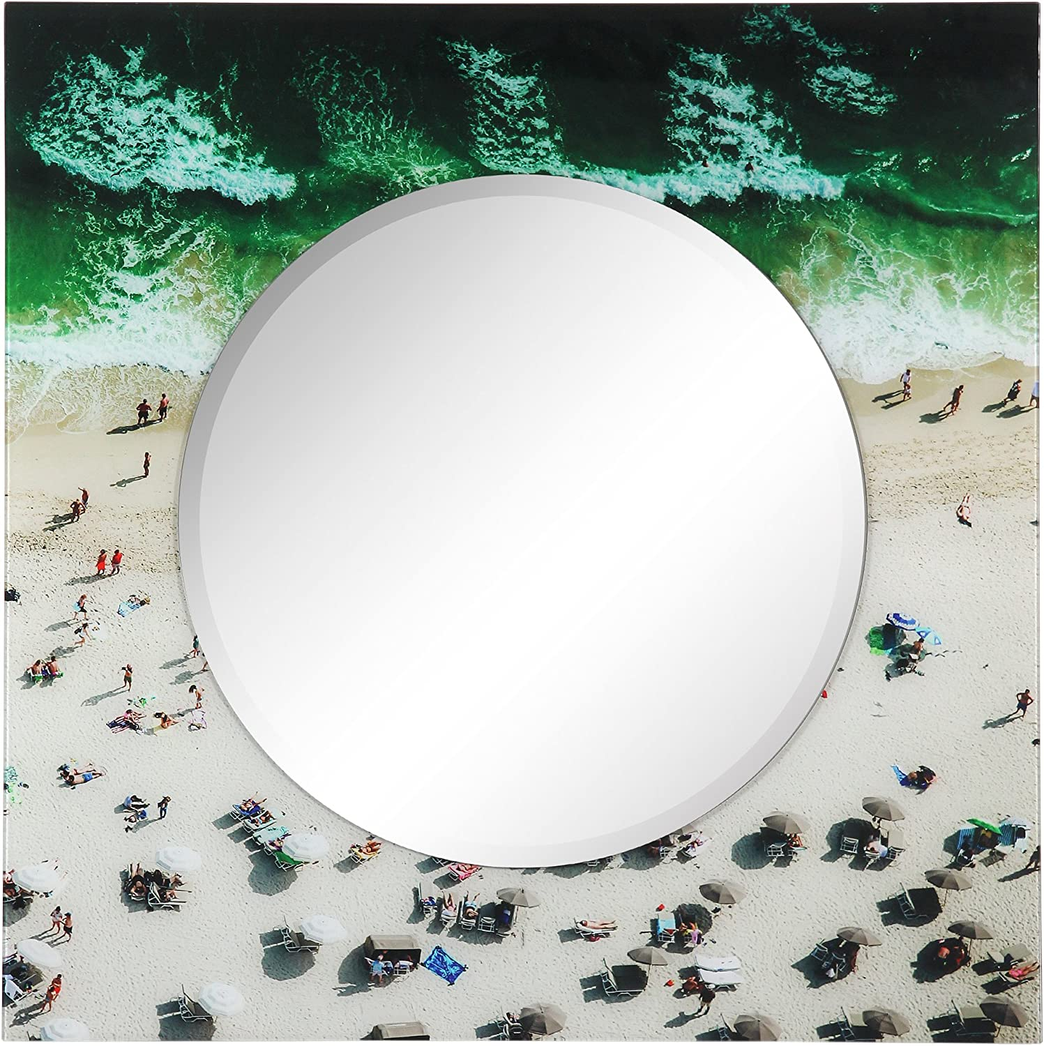 Empire Art Direct Beach Rectangular Beveled Mirror on Free Floating Reverse Printed Tempered Art Glass Ready to Hang, 36