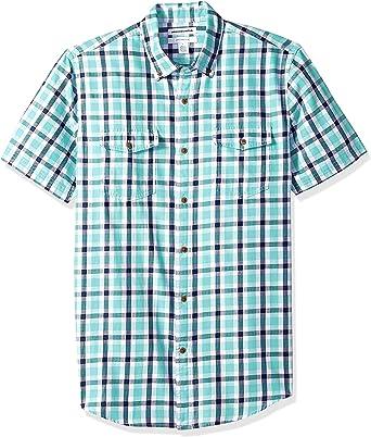 Amazon Essentials - Camisa de sarga y corte entallado con dos bolsillos y manga corta para hombre, Azul (Blue Plaid Bpl), US S (EU S): Amazon.es: Ropa y accesorios