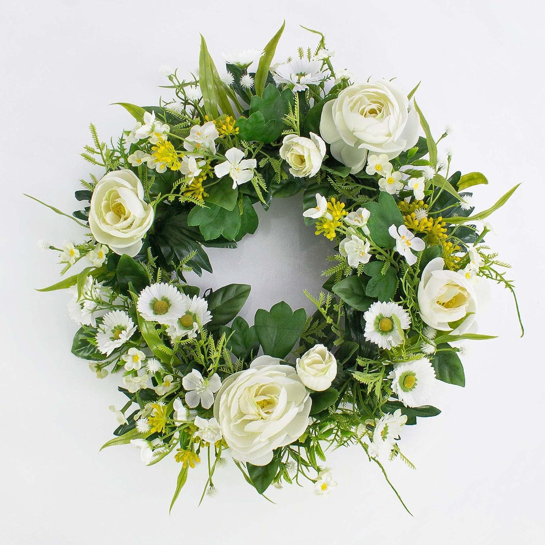 Ghirlanda estiva artificiale con ranuncoli, pratoline, crema, Ø 25 cm - Estate fiori / Corona decorativa - artplants