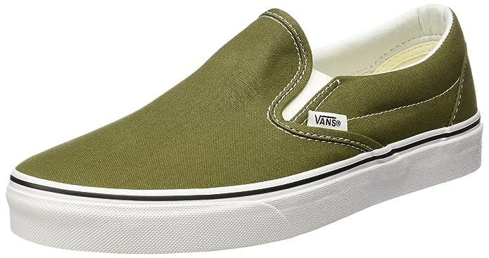Vans Classic Slip On Sneaker Damen Herren Kinder Unisex Moos Grün (Winter Moss)