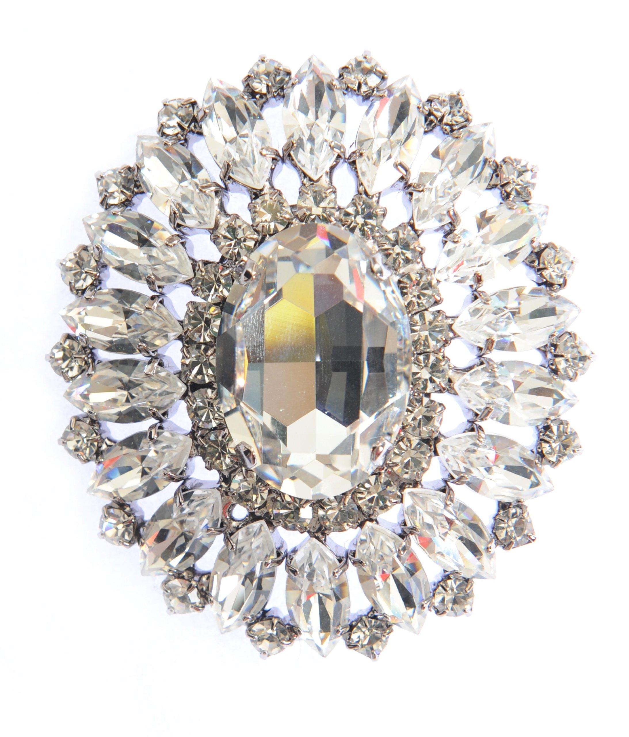 Oversized Swarovski Crystal Shield Style Brooch / Pin in Silver by Krystal London by Krystal London