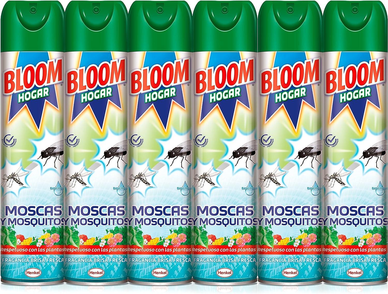 Bloom Hogar Aerosol contra moscas y mosquitos, 600ml, Pack de 6, Verde