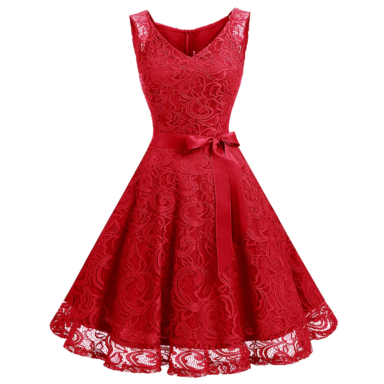 TALLA L. Dressystar Vestido Corto Elegante Mujer De Encaje Sin Mangas con Lazo para Madrina Fietsa Rojo