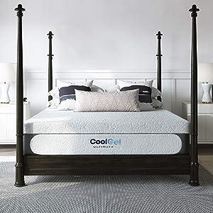 Classic Brands Cool Gel 1.0 Ultimate Gel Memory Foam 14-Inch Mattress with BONUS Pillow , Twin, White