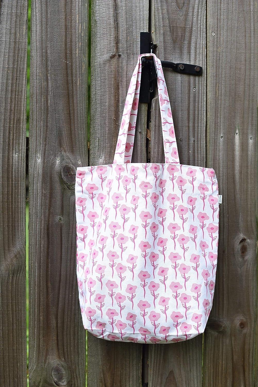Pink Floral Flower Cotton Canvas Tote Market Book Beach bag