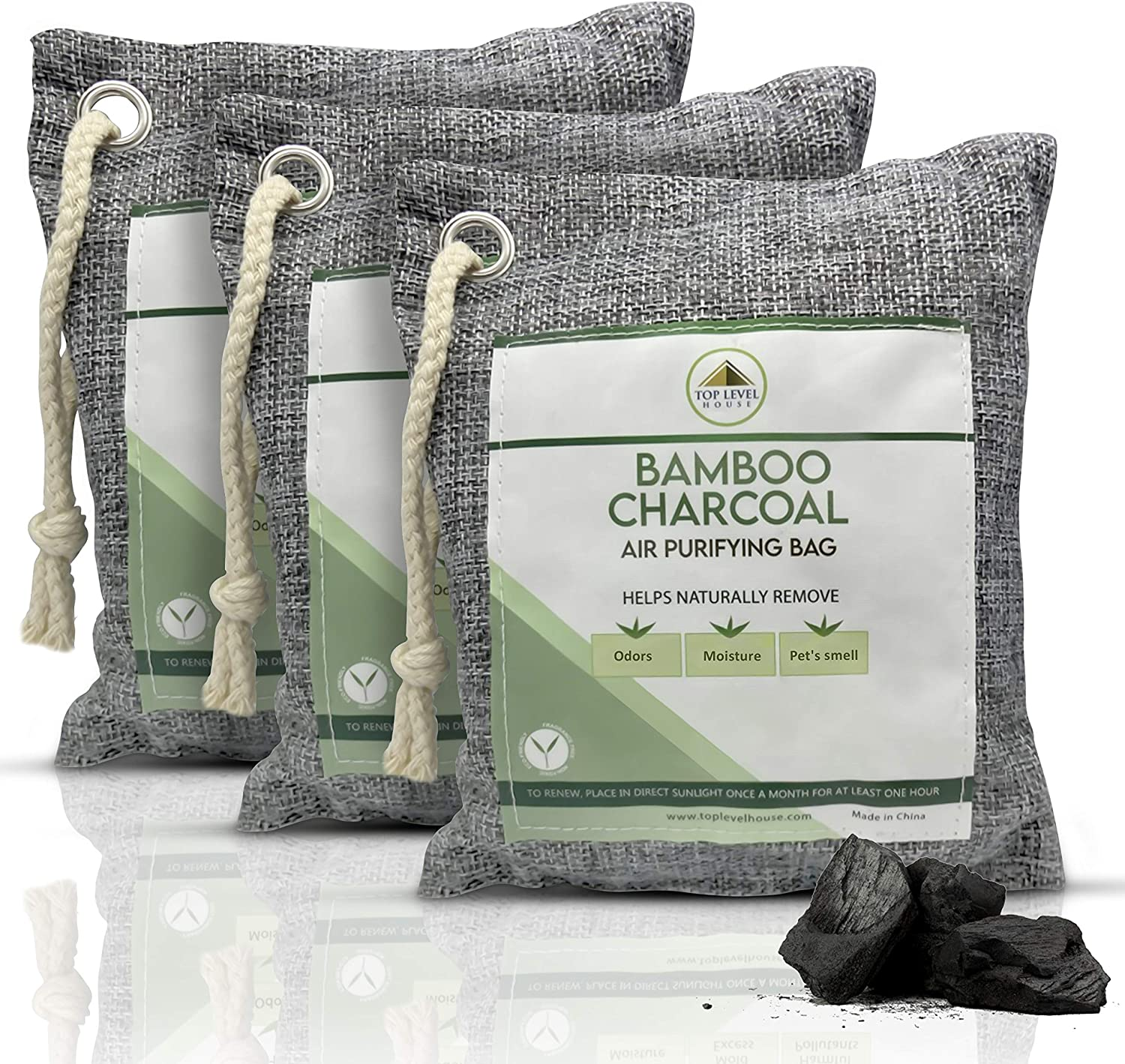 Top Level House Charcoal Bags Air Purifier - Air Purifying Bags Activated Bamboo Charcoal - Odor Remover Bags for Home and Car - Nature Fresh Bags Room Deodorizer