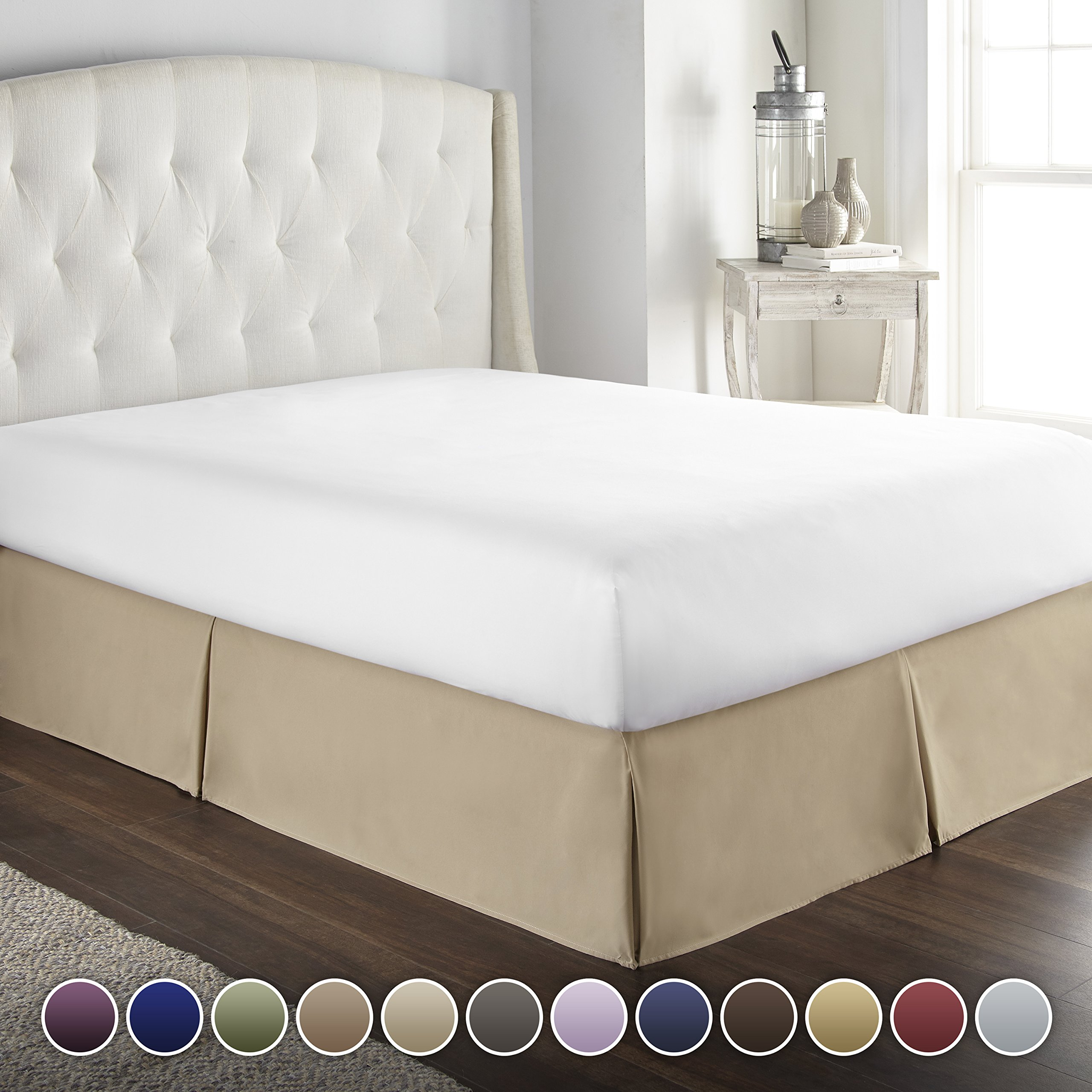 HC COLLECTION Hotel Luxury Bed Skirt/Dust Ruffle 1800 Platinum Collection-14 inch Tailored Drop, Wrinkle & Fade Resistant, Linens (Full, Taupe)