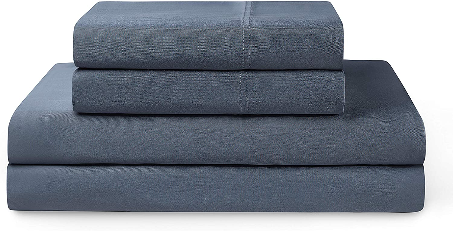 YNM Bamboo Sheet Set - Cozy, Cooling, and Eco-Friendly Bamboo Viscose Sheets Collection, 4-Piece Set Includes Flat Sheet, Fitted Sheet, and 2 Pillowcases - Queen, Blue Grey