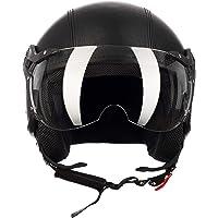 Westt® Classic X Leather · Casco Moto Jet Abierto de Cuero Estilo Vintage para Motocicleta