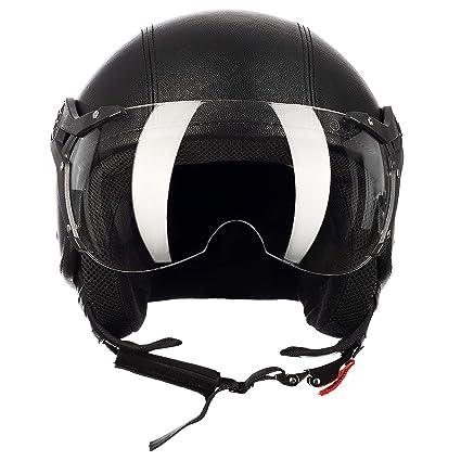 Westt Razor /· Casco Moto Jet Negro Mate Scooter Vespa Chopper /· Casco de Moto Motocicleta Vintage /· Homologado ECE