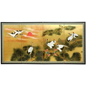 "Oriental Furniture 36"" Gold Leaf Sunset Cranes"