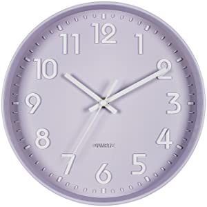 Bernhard Products Purple Wall Clock 10 Inch, Silent Non-Ticking, Quality Quartz 3D Numbers Battery Operated Round Pretty Clock for Bedroom/Office/Nursery Room