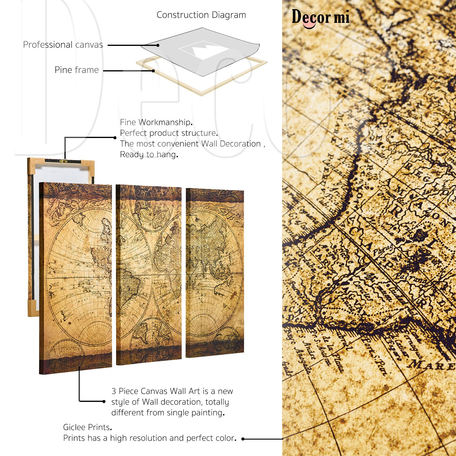 Decor MI Vintage World Map Canvas Wall Art Prints Stretched Framed ...
