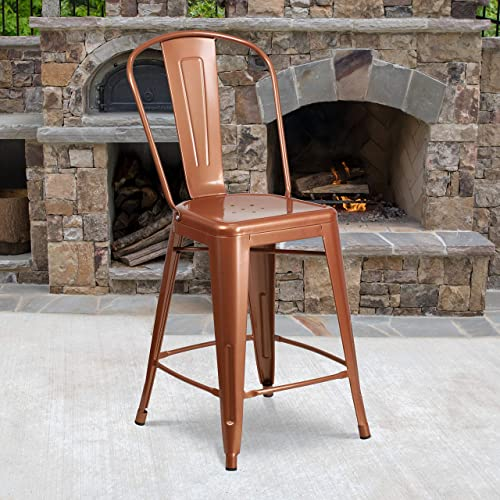 Deal of the week: Flash Furniture Commercial Grade 4 Pack 24″ High Copper Metal Indoor-Outdoor Counter Height Stool