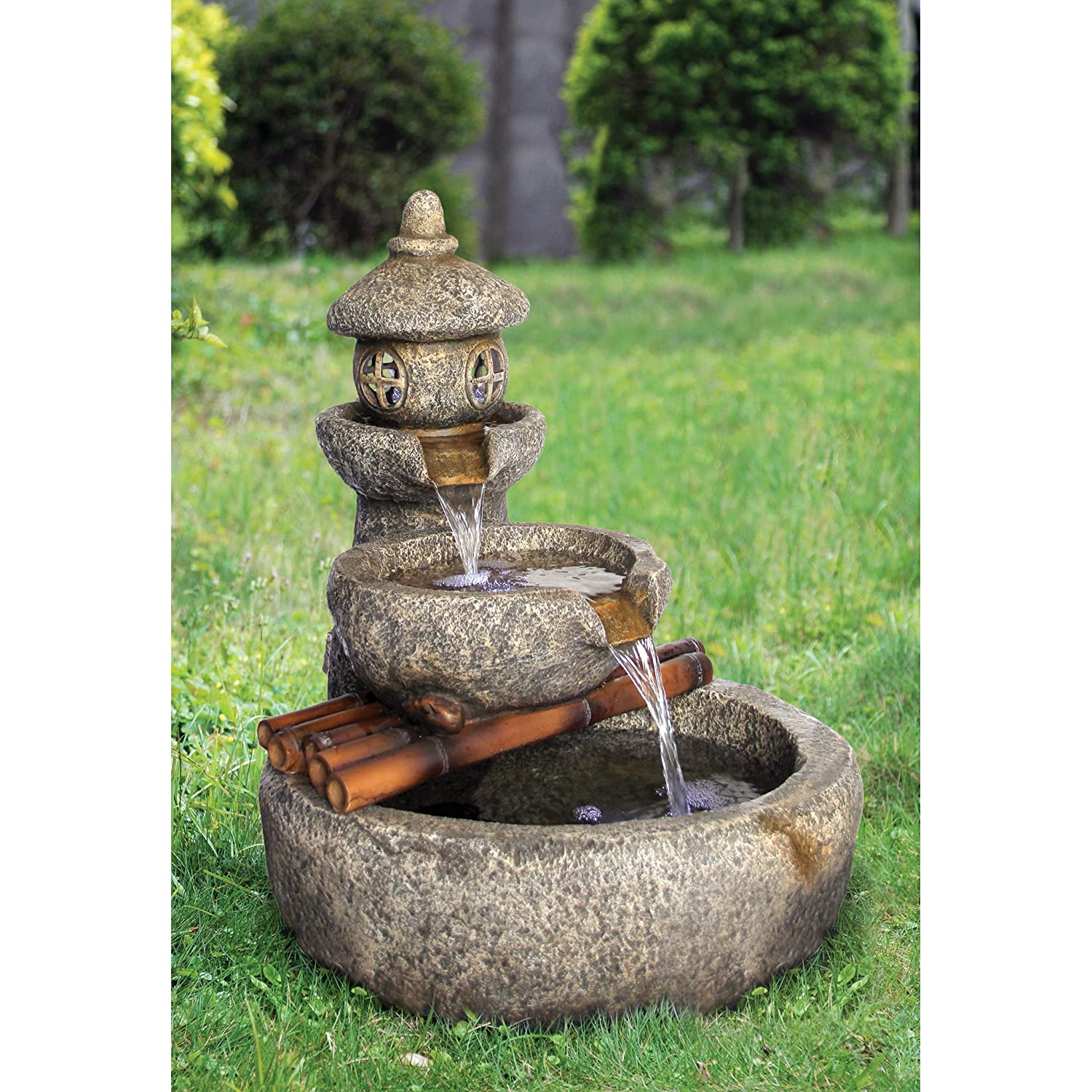 Amazon.com : Asian Decor Water Fountain With LED Light   Tranquil Springs  Pagoda Fountain   Outdoor Water Feature : Garden U0026 Outdoor