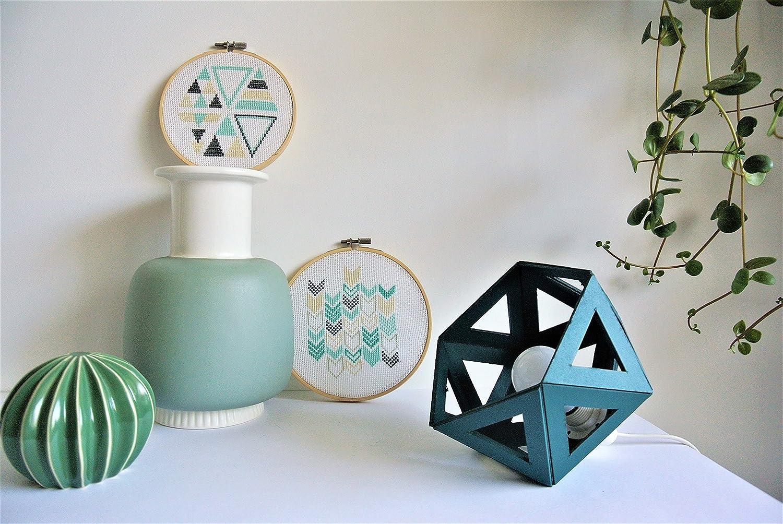 petite lampe à poser Origami bleu canard