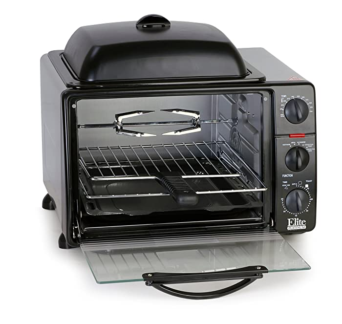 Elite Cuisine ERO-2008SZ Convection Toaster Oven with Top Grill & Griddle Rotisserie, Bake, Grill, Broil, Roast, Toast, Keep Warm, 23L Capacity, 23 L Black