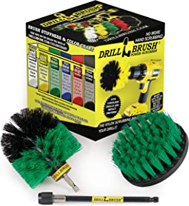 Drill Brush - Cleaning Supplies - Rotary Brush Kit w/ Extension - Kitchen Accessories – Pots and Pans - Cast Iron Skillet - Power Dish Washing Brushes - Grout Cleaner - Scrub Sinks, Porcelain, Floors