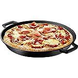 "Pre Seasoned Cast Iron Skillet Dual Handles - 16"" Durable Frying Pan Deep Pizza Pan Large Loop Handles, Camping Skillet, Pizza Pan"