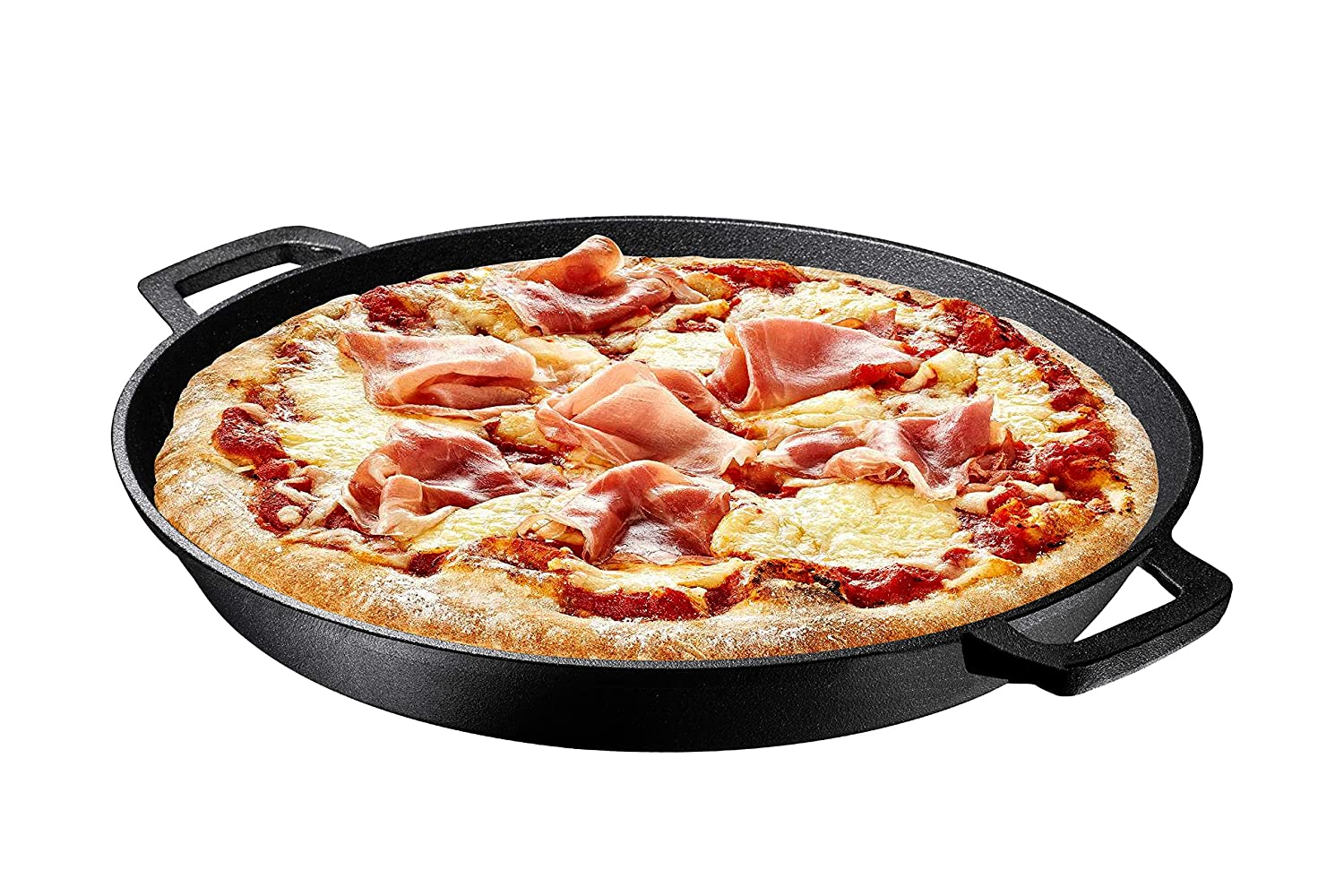 "Pre Seasoned Cast Iron Skillet Dual Handles - 16"" Durable Frying Pan Deep Pizza Pan Large Loop Handles, Camping Skillet, Pizza Pan"