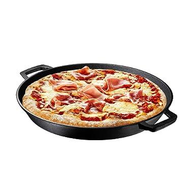 Pre Seasoned Cast Iron Skillet Dual Handles - 16  Durable Frying Pan Deep Pizza Pan Large Loop Handles, Camping Skillet, Pizza Pan