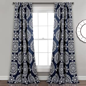 "Lush Decor Kamren Medallion Room Darkening Window Curtain Panel Pair, 84"" X 52"", Navy"