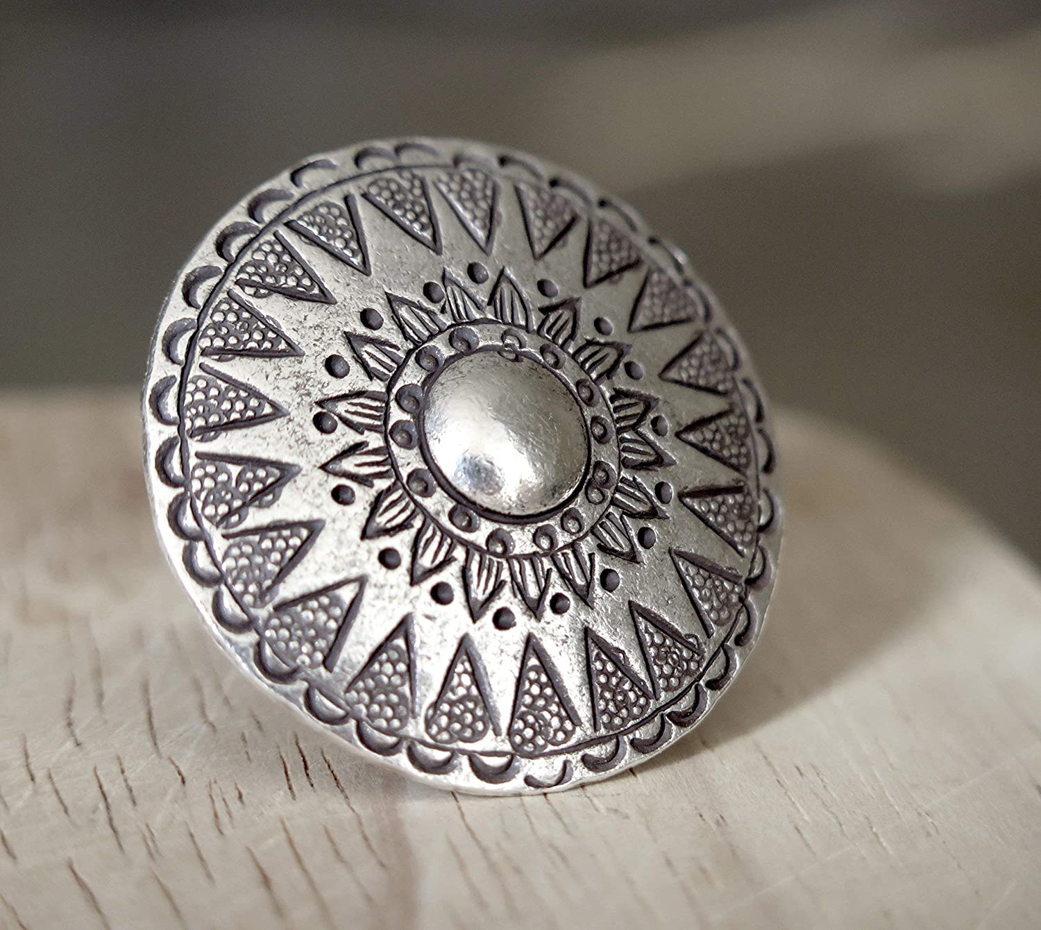Gift for her Sterling Silver Mandala Star Statement Ring,SilverShapes Handmade Large Boho Tribal Ethnic Sun Engraved Dome Adjustable Ring