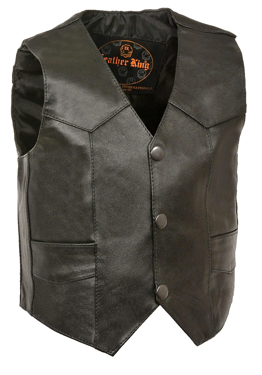 Kids Basic Leather Three Snap Vest Milwaukee Leathers SH2011