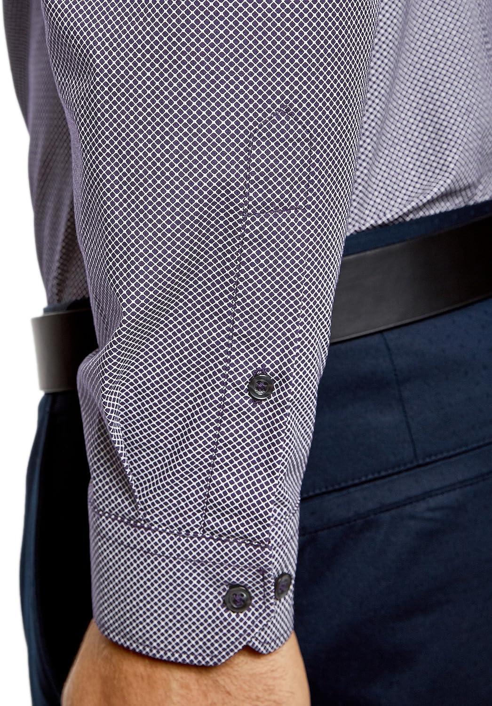 oodji Ultra Hombre Camisa de Algod/ón con Decoraci/ón Gr/áfica Peque/ña