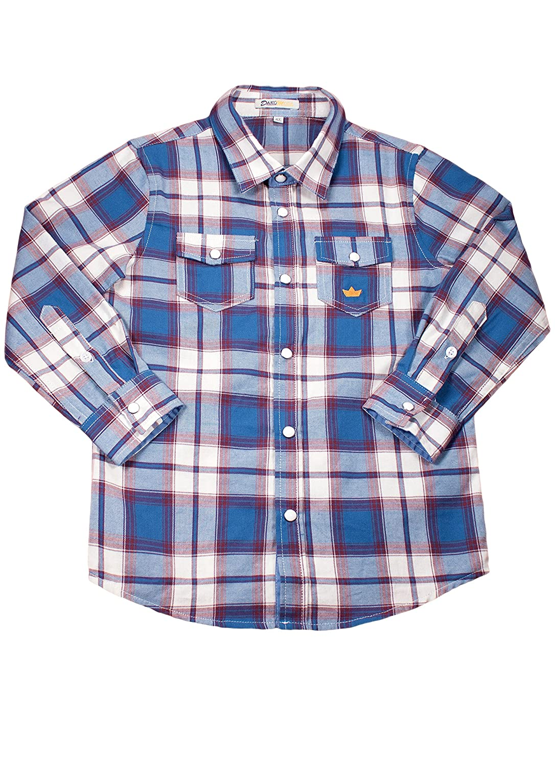 Roll Up Sleeve Snap Top Toddler Boys 100/% Cotton Blue Western Plaid Shirt