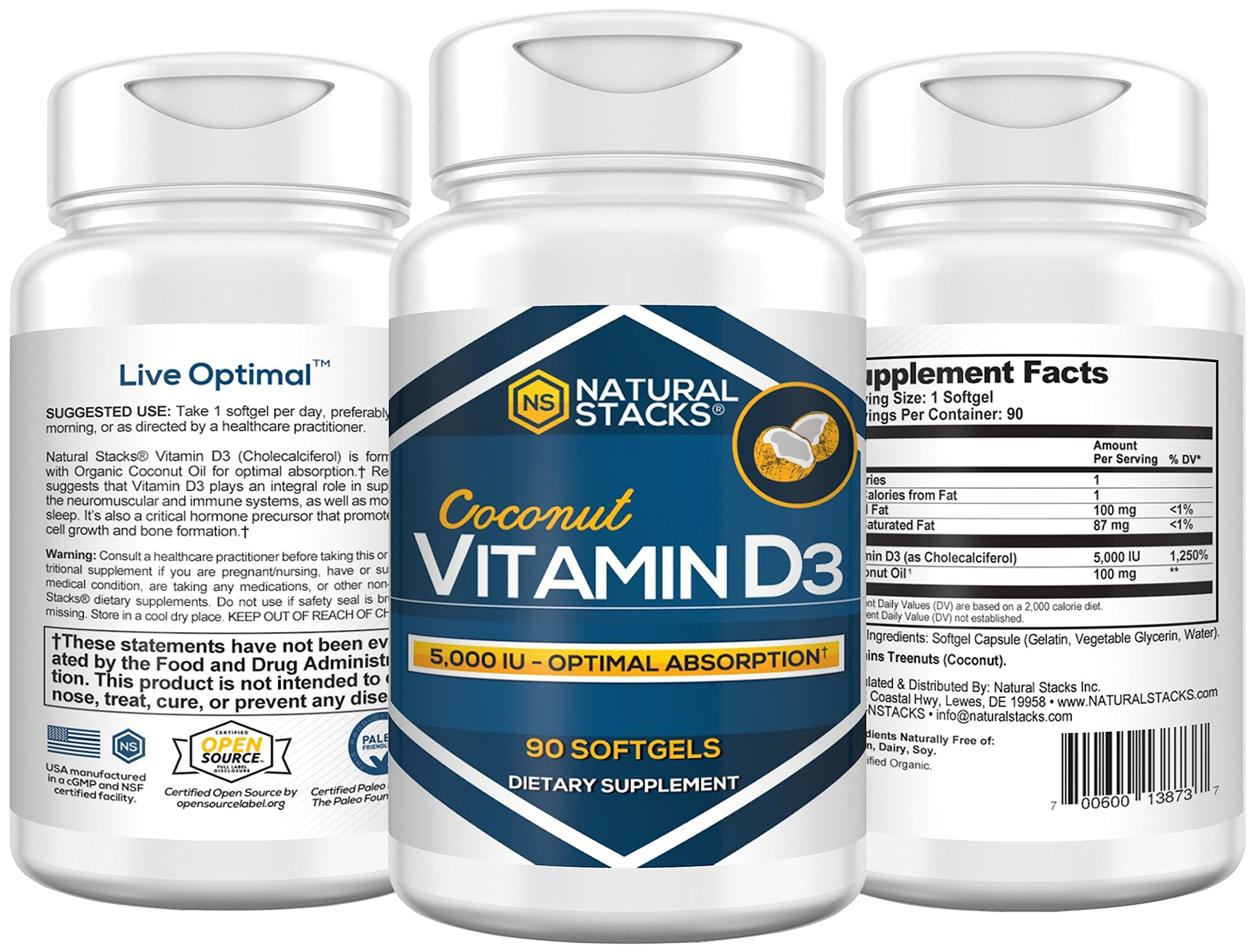 Natural Stacks Vitamin D3 Supplement - 90 Count Softgels- Boost Mood - Improve Cognitive Ability - Increase Overall Health and Wellness-Vitamin & Dietary Supplement