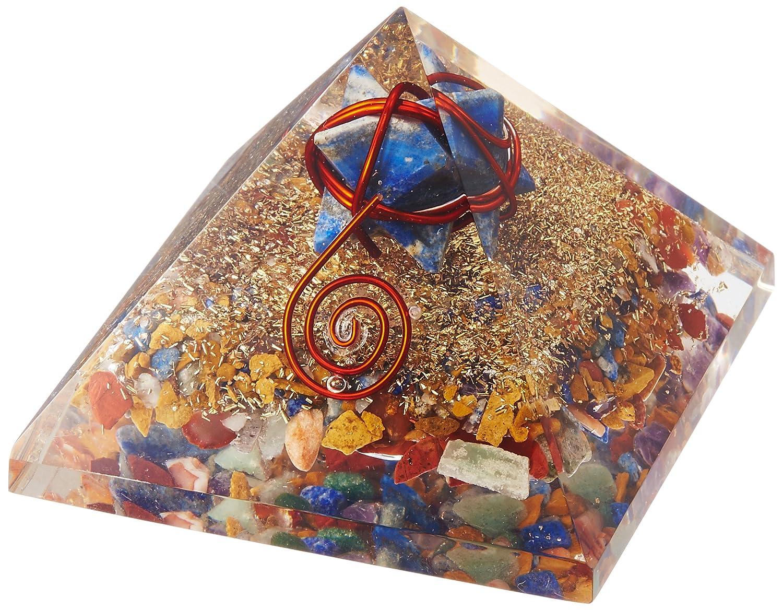 ハッピーボム Happy Bomb ピラミッド オルゴナイト ラピスラズリ マルカバスター入 約65mmサイズ 12月 誕生石 強運 幸運 癒し 浄化 天然石 パワーストーン 置物 オルゴンエネルギー パワースポット創造 B011RW0LTE