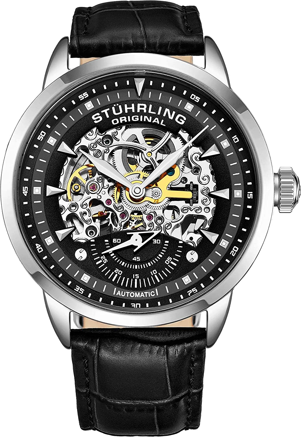 Stuhrling Original Mens Automatic Watch Skeleton Watches for Men – Black Leather Watch Strap Mechanical Watch Silver Executive Watch Collection
