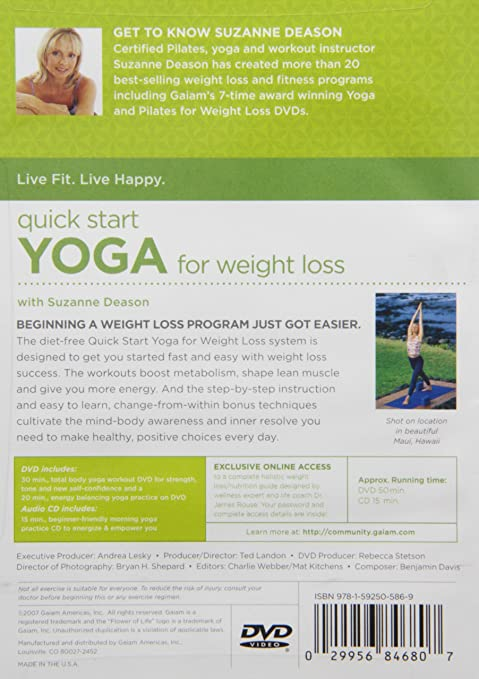 Quick Start Yoga For Weight Loss Dvd Plus Audio Cd Suzanne Deason Movies Tv Amazon Com