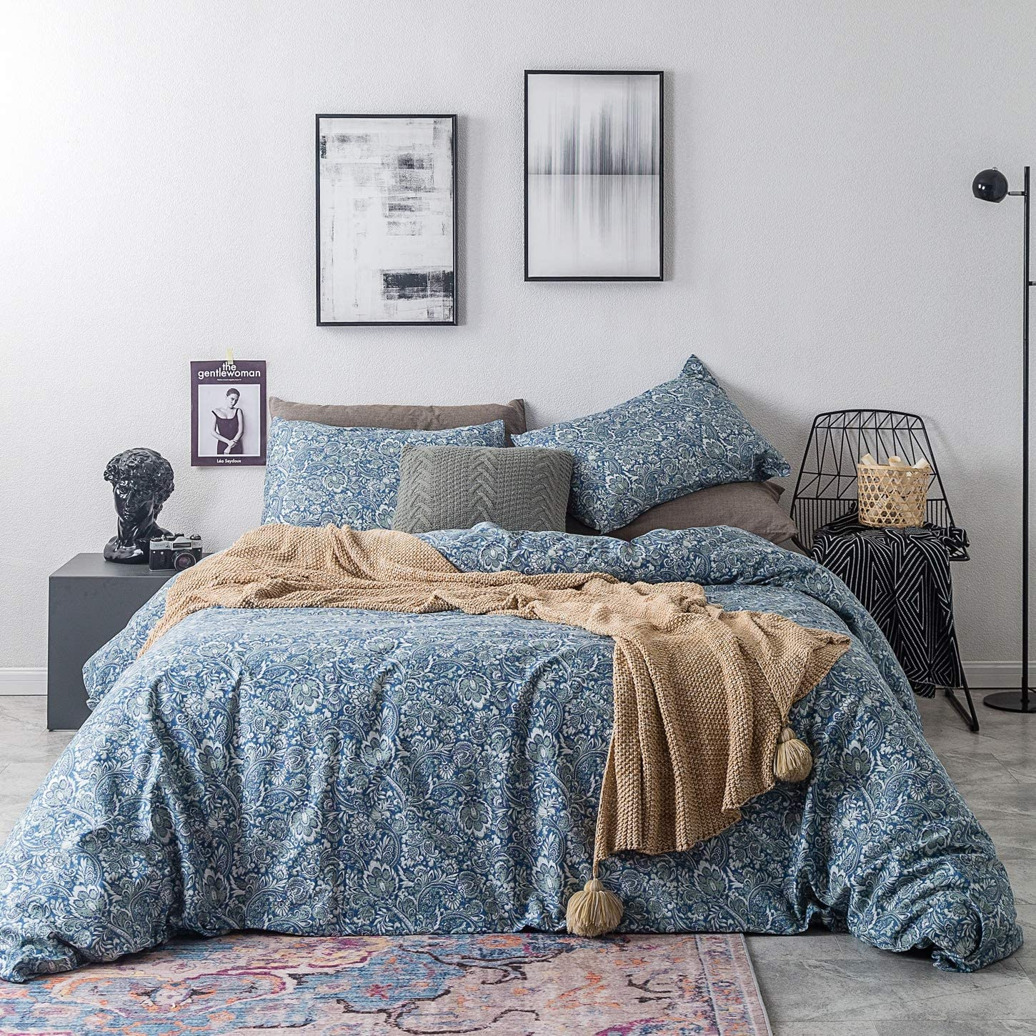 SUSYBAO 3 Piece Duvet Cover Set 100% Cotton Queen Size Teal Paisley Floral Bedding Set with Zipper Ties 1 Bohemian Flower Duvet Cover 2 Boho Chic Pillowcases Hotel Quality Soft Breathable Lgithweight