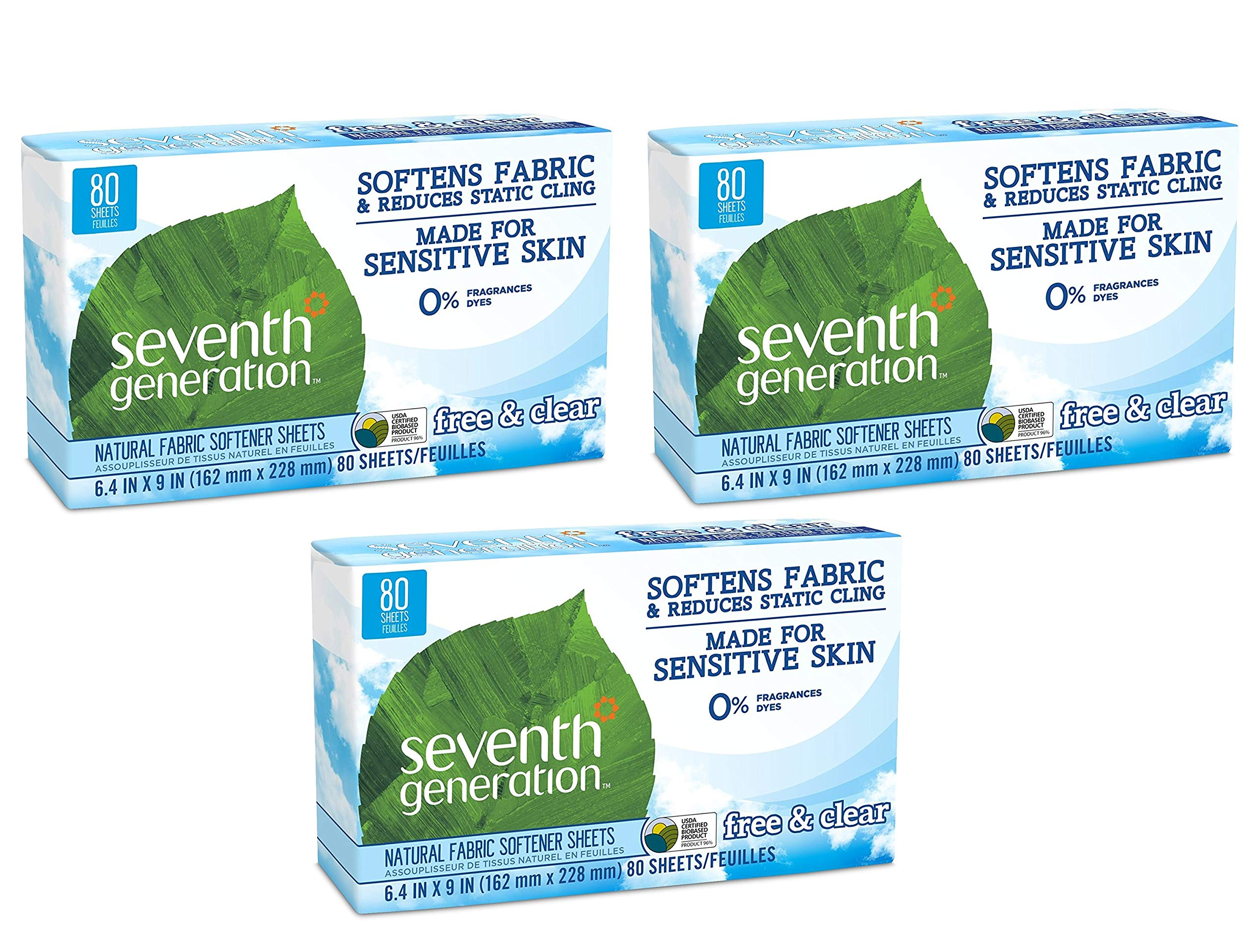 Seventh Generation - Free & Clear Natural Fabric Softener Sheets - 80 Sheets (Free & Clear - 3 Pack)