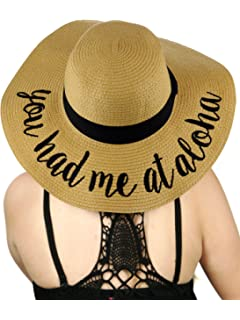 78972193 C.C Women's Paper Weaved Crushable Beach Embroidered Quote Floppy Brim Sun  Hat