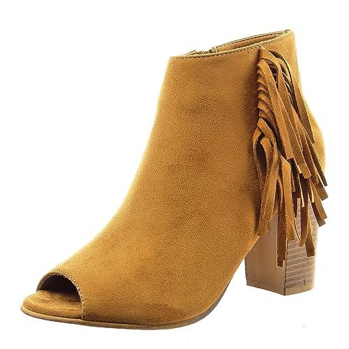 Sopily - Zapatillas de Moda Botines Tobillo mujer fleco Talón Tacón ancho alto 8 CM - Camel FRF-12-F670 T 39: Amazon.es: Zapatos y complementos
