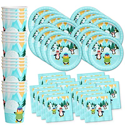 Penguin Birthday Party Supplies Set Plates Napkins Cups Tableware Kit for 16: Toys & Games