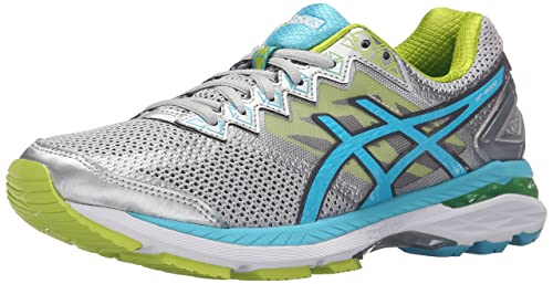 ASICS Women's GT-2000 4 Running Shoe, Silver/Turquoise/Lime Punch,