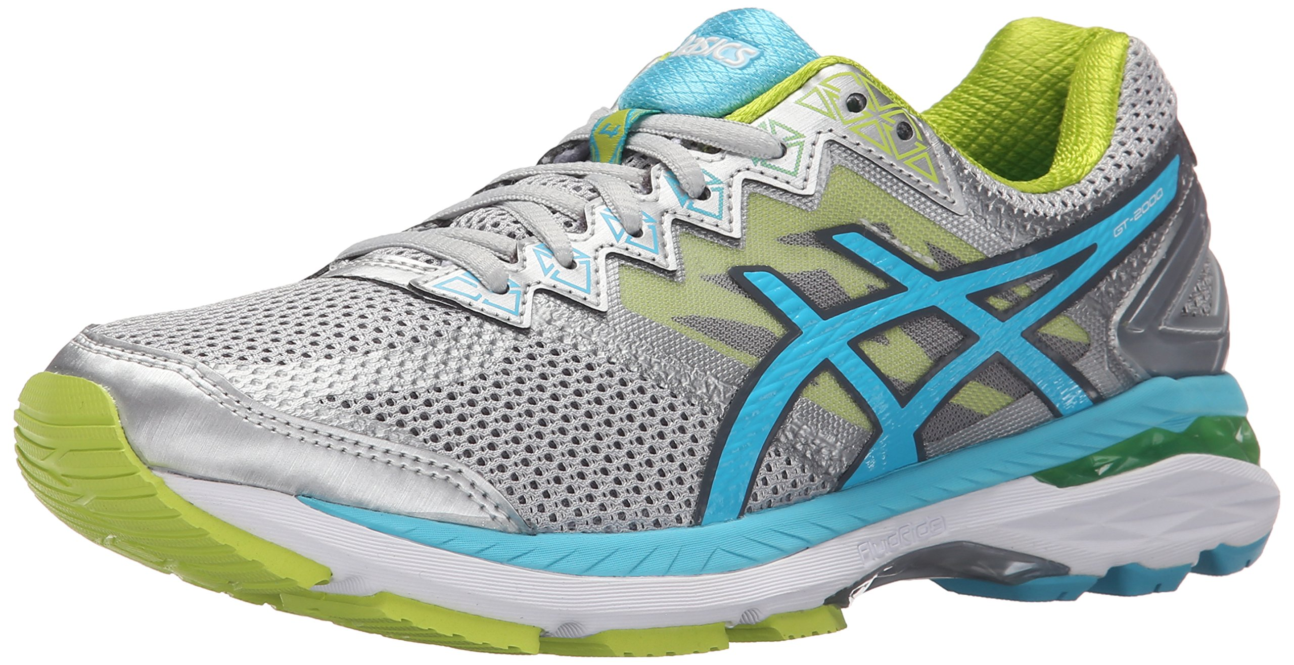 ASICS Women's GT-2000 4 Running Shoe, Silver/Turquoise/Lime Punch, 5 2A US