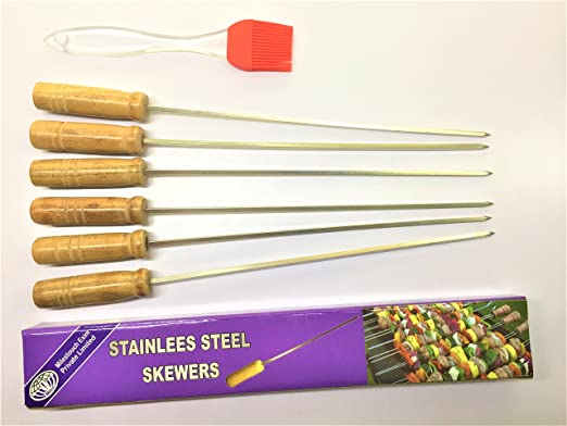 MILESTOUCH - 6+1 SET - Skewers- 6 & ONE SILICON OIL BRUSH - Wood handle Skewers for Tandoor - barbeque -Skewer 14.5 IN & 8.9 IN Brush at amazon