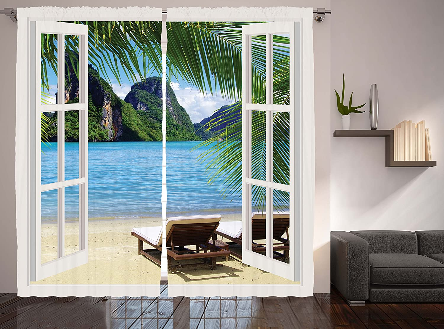 Ambesonne Nautical Curtains Palm Tree Decor by, Ocean Beach Seascape Heaven Sunbeds Balcony White Wooden Windows Summer Tropical 2 Panels Set Curtains for Living Room and Bedrooms, Blue Green White