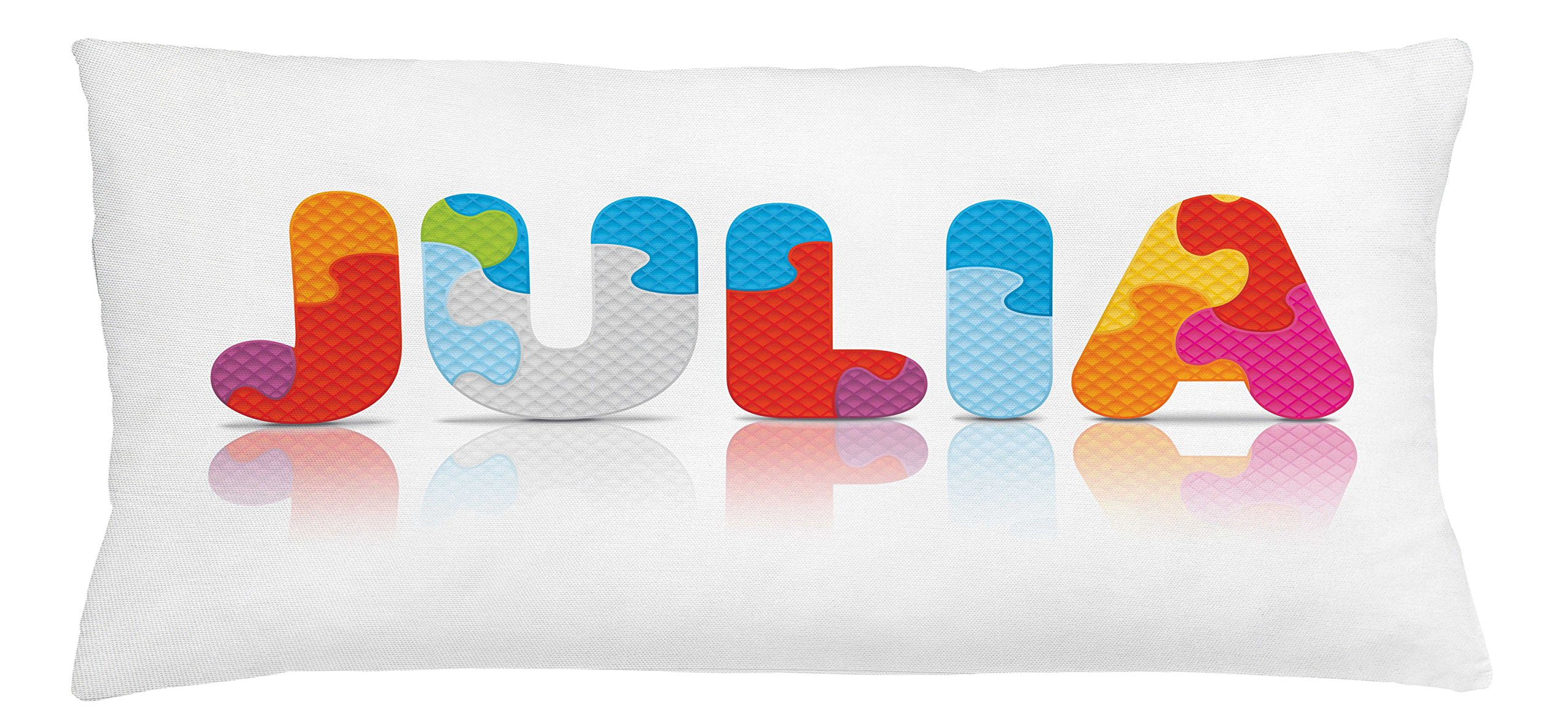Ambesonne Julia Throw Pillow Cushion Cover, Puzzle Style Colorful Letters Preschool Theme Girl Name with Roman Mythology Roots, Decorative Square Accent Pillow Case, 36 X 16 Inches, Multicolor