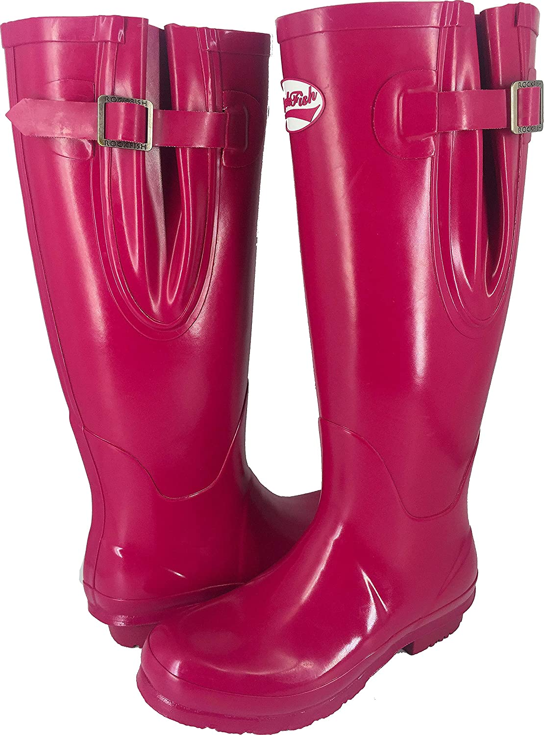 Rockfish AWARD WINNING Stiefel, Ladies Wellies, Magenta, Gloss Gloss Gloss Finish - STANDARD OR EXTRA WIDE CALF FIT (UP TO 45CMS), Natural Rubber - Adjustable Inc da9dc4
